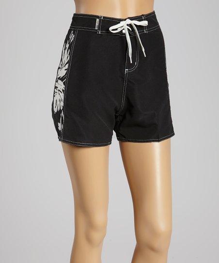 ed0de23a11 Raya Sun Black Vintage Hibiscus Boardshorts - Women | Zulily