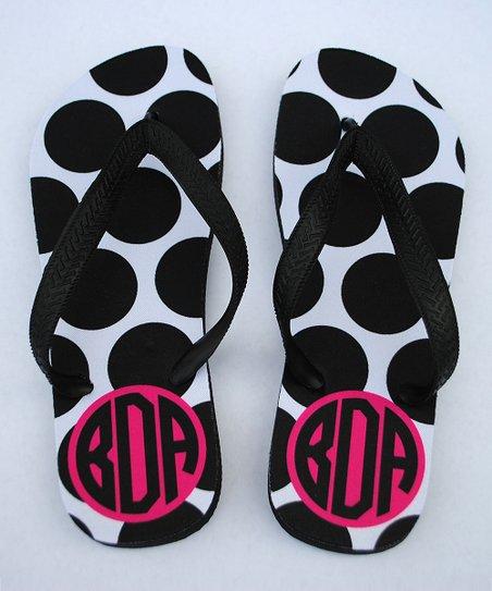 0462aaa91 love this product Pink   Black Polka Dot Monogram Flip-Flop - Women