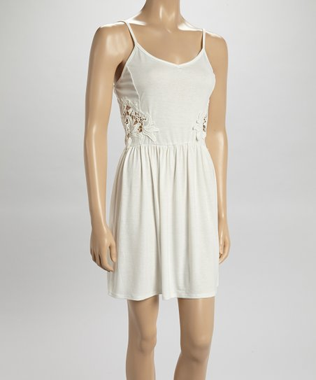 Derek Heart Timeless Cream Lace Applique Tank Dress