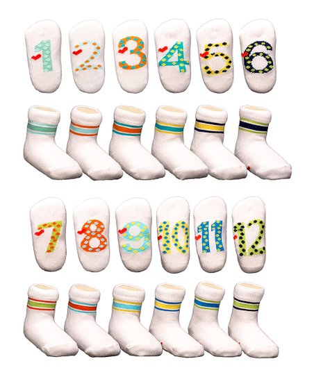 Squishy Kids White & Blue Milestone 12-Pair Socks Set