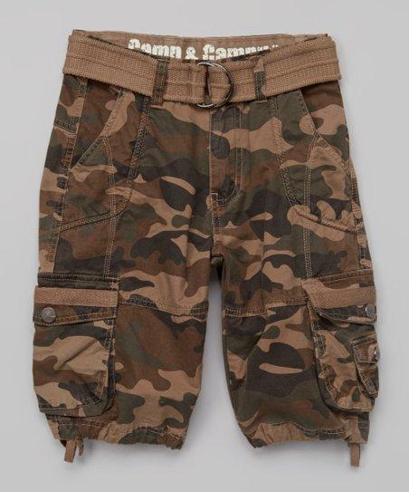 40821aef07 Camp & Campus Green Camo Belted Drawstring-Leg Cargo Shorts - Boys ...