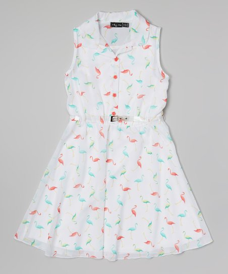 151623bd9 love this product White & Pink Flamingo Dress - Girls