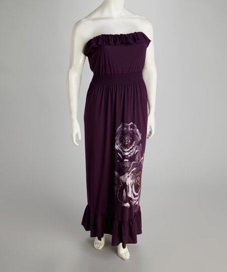 Purple Rose Ruffle Plus-Size Strapless Maxi Dress