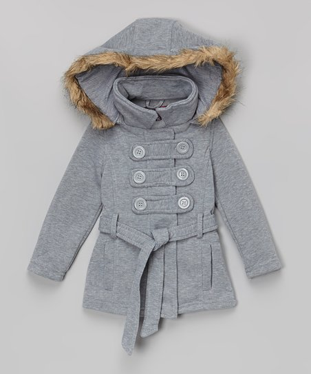 enjoy complimentary shipping innovative design color brilliancy Chillipop Heather Gray Faux Fur Hood Peacoat - Toddler & Girls