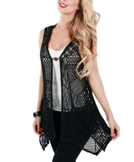 Lily Black Crochet Sleeveless Cardigan Women Zulily