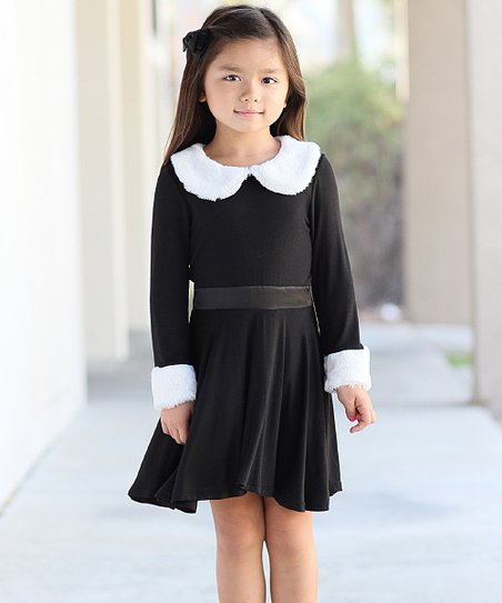 Freckles Kitty Black White Faux Fur Trim Dress Toddler Zulily