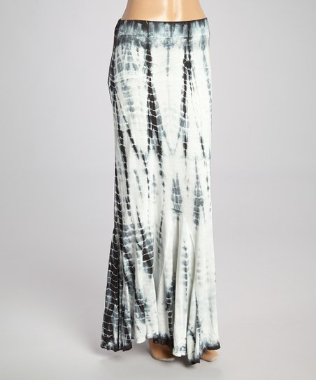 ffdc1e10d7 Poof Apparel Black & White Tie-Dye Maxi Skirt | Zulily