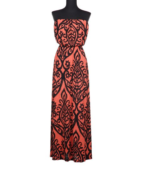 e081979c6148 Fashionomics Coral Filigree Strapless Maxi Dress | Zulily
