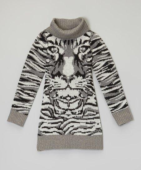 550ce0a97 Dollhouse Charcoal Tiger Sweater Dress - Girls