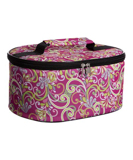 Home Essentials and Beyond Pink Scroll Round Casserole Carrier
