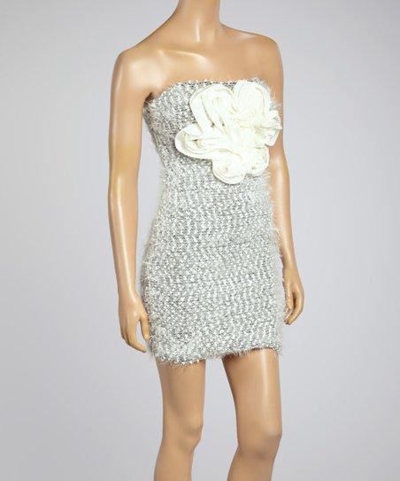 ed865fdd6ae Farinelli Black   White Rosette Woven Convertible Strapless Dress ...