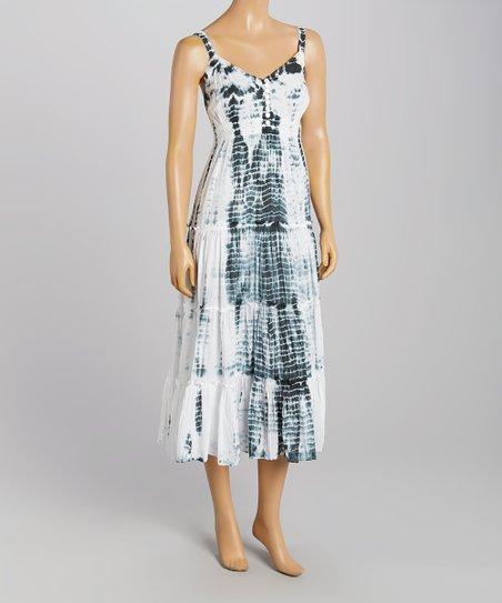 a66f7b45463b Vasna Desire White & Black Tie-Dye Maxi Dress | Zulily
