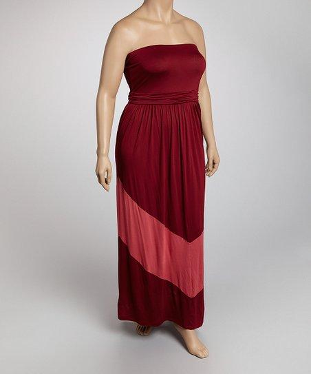 9dcd2cdf593 Tua Plus Burgundy Color Block Plus-Size Maxi Dress