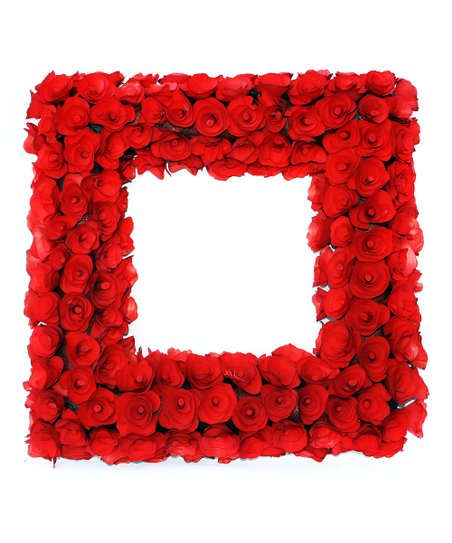 Red Wood Curl Square Wreath Zulily