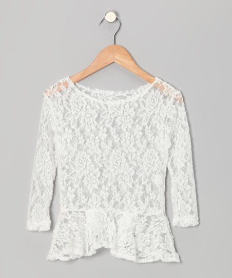girls white lace top