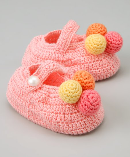 Best of Chums Pink Ball of Fun Crochet Mary Jane Booties  231156acb6