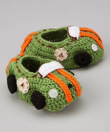 Best of Chums Green   Orange Racecar Crochet Booties  d4cf97e8a8