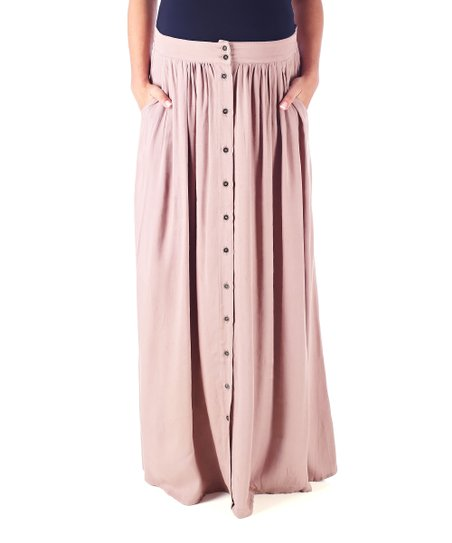 37da764ec PinkBlush Maternity Mocha Button-Front Maternity Maxi Skirt | Zulily