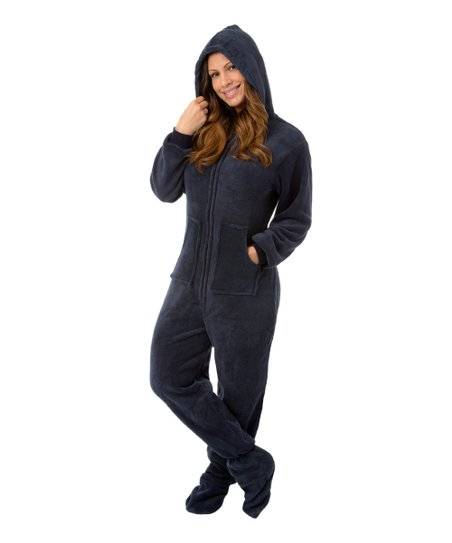 Big Feet Pjs Navy Fleece Hooded Dropseat Footed Pajamas - Women  13d6fa5235