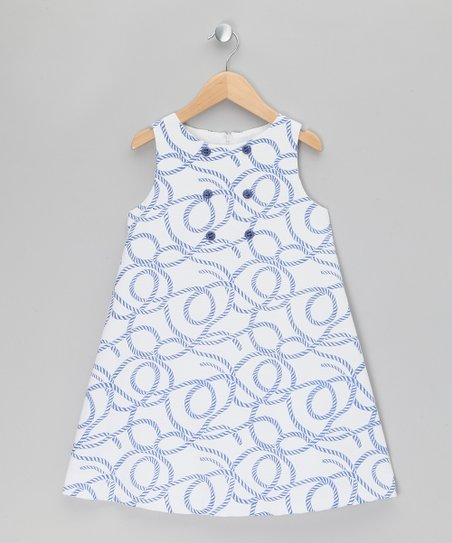 e089e2c4a401 Fina Ejerique White   Blue Rope Swirl Swing Dress - Girls