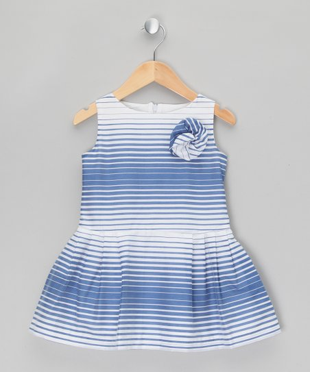 2ffaab421639 Fina Ejerique Blue   White Stripe Rose Dress - Toddler   Girls