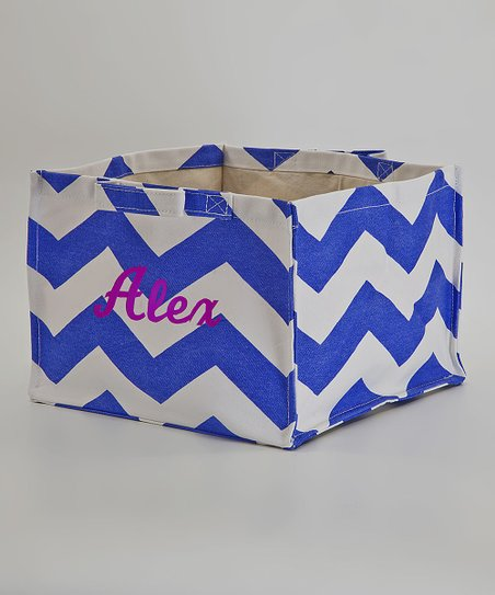 CB Station Blue Zigzag Square Personalized Storage Box
