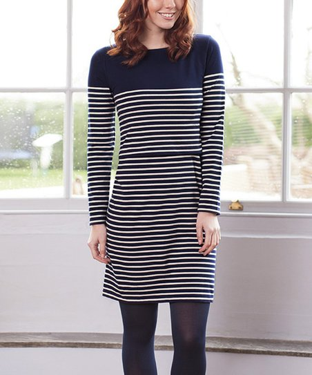 43e7c79063a7b JoJo Maman Bébé Navy & Ecru Breton Stripe Maternity/Nursing Dress ...
