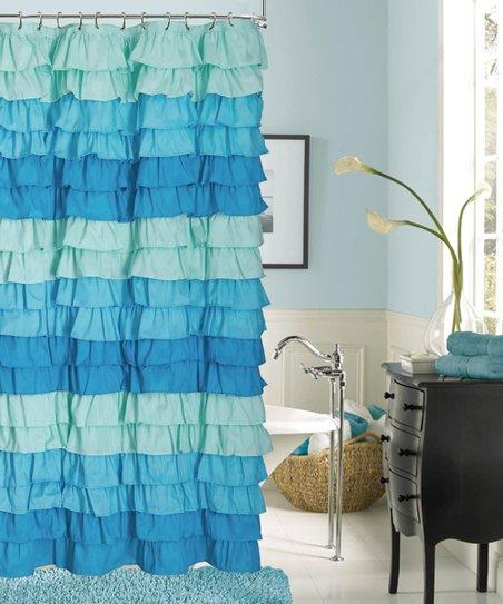 Dainty Home Blue Venezia Ruffle Shower Curtain