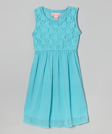 love this product Turquoise Floral Lace Skater Dress - Girls 0be460d68