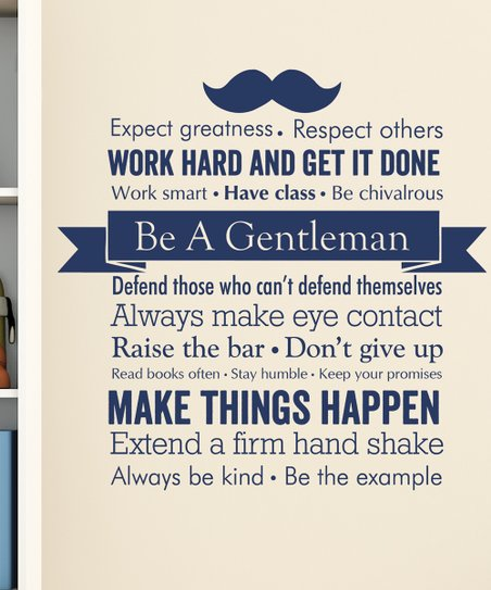 Wall Quotes™ by Belvedere Designs Navy Be A Gentleman Decal ...