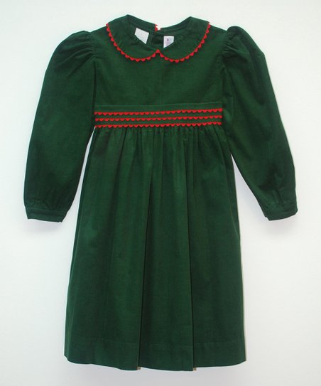 a7a62446b138 SIMI Dark Green Scalloped Corduroy Dress - Toddler | Zulily