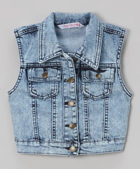4f62753a6d8 Crystal Vogue Blue Acid Wash Denim Vest - Girls