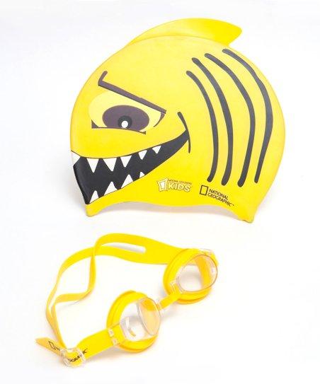 National Geographic Yellow Sharky Swim Cap & Goggles - Kids