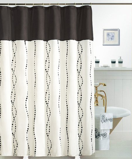 Black Raindrop Shower Curtain
