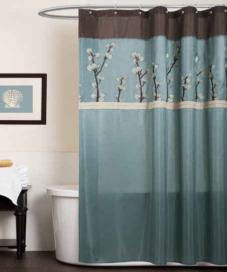 Love This Product Blue Brown Lotus Flower Shower Curtain