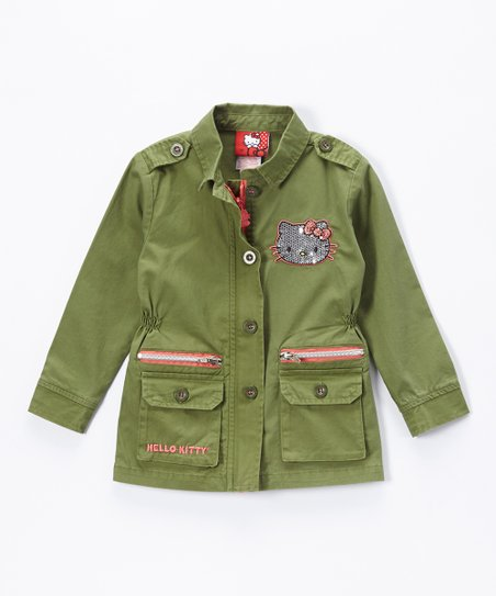 8e4e02662 Green Hello Kitty Military Jacket - Girls | Zulily