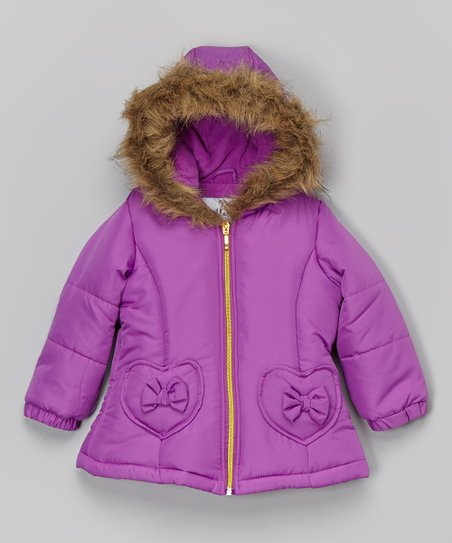 19a9ac2199fb KC Collections Deep Purple Heart Bow Puffer Coat - Infant