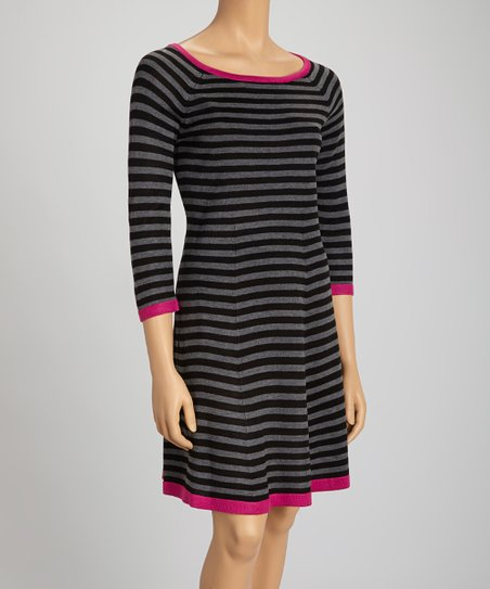 Black Pink Stripe Long Sleeve Sweater Dress Petite Zulily