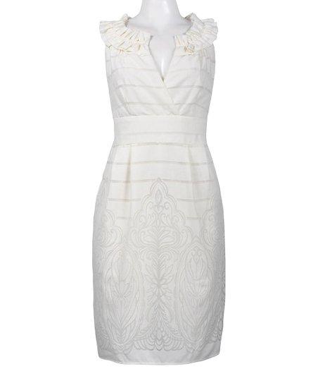 dc56c700d4583e love this product White Frill Stripe Linen-Blend Sleeveless Dress - Women