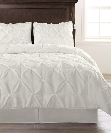 Exceptional Sheets White Pinch Pleat Comforter Set Zulily