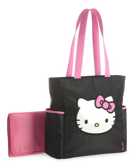 Baby Boom Pink   Black Hello Kitty Front Face Diaper Bag  4503d9188cbff