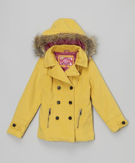 Buy Authentic hot-selling genuine top-rated fashion Dollhouse Yellow Faux Fur Hooded Peacoat - Toddler & Girls