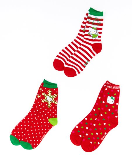 544a5b935 Moret Kids Red & Green Hello Kitty Holiday Socks Set - Girls   Zulily