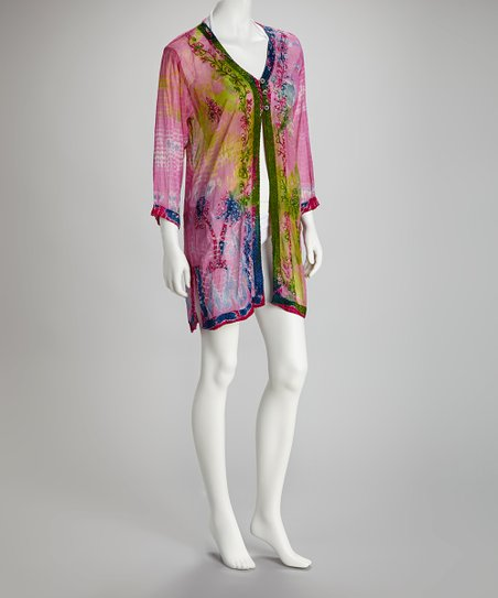 f251f41fa5 India Boutique Pink & Lime Tie-Dye Cover-Up | Zulily
