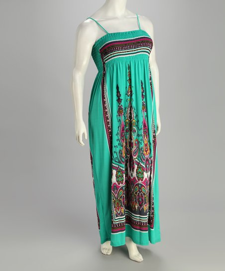 India Boutique Teal Tapestry Shirred Plus-Size Maxi Dress | Zulily