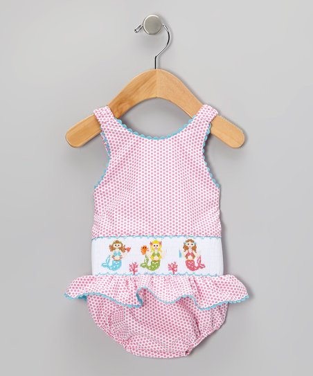 812fd1c05454e love this product Pink Mermaid Smocked One-Piece - Infant & Toddler