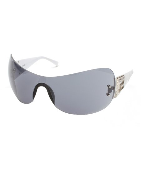 df7513c3a5016 love this product White   Gray Rimless Shield Sunglasses - Women