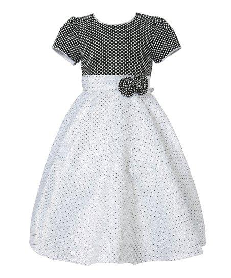 b5ba37817 Richie House Black   White Pin Dot Bow Puff-Sleeve Dress - Toddler ...