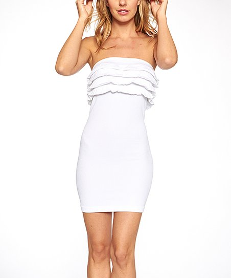 e6fc9bea06987 Icy Fashion White Ruffle Strapless Bodycon Dress   Zulily