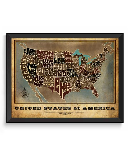 I Lost My Dog Vintage-Style USA Hand-Lettered Map | Zulily United States Map Vintage Style on united states map poster, united states map color, united states map 1860,